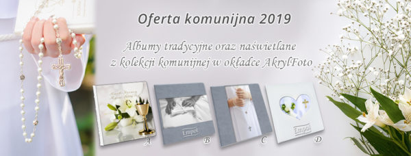 album komunijny ze zdjęciem na okładce